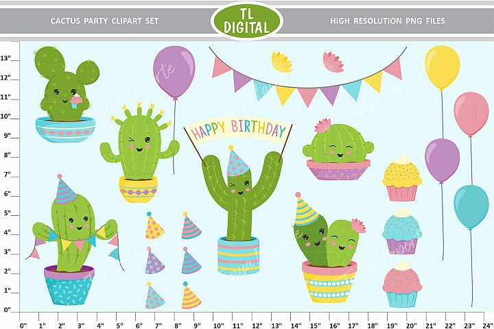 Cactus Party Clipart Set - 22 Birthday Graphics - PNG Files