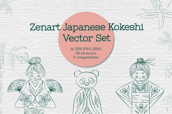 Zenart Japanese Kokeshi Vector Set