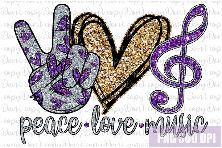 Peace love music png, music clipart