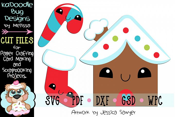 Kawaii Gingerbread House Cut File - SVG PDF DXF GSD WPC