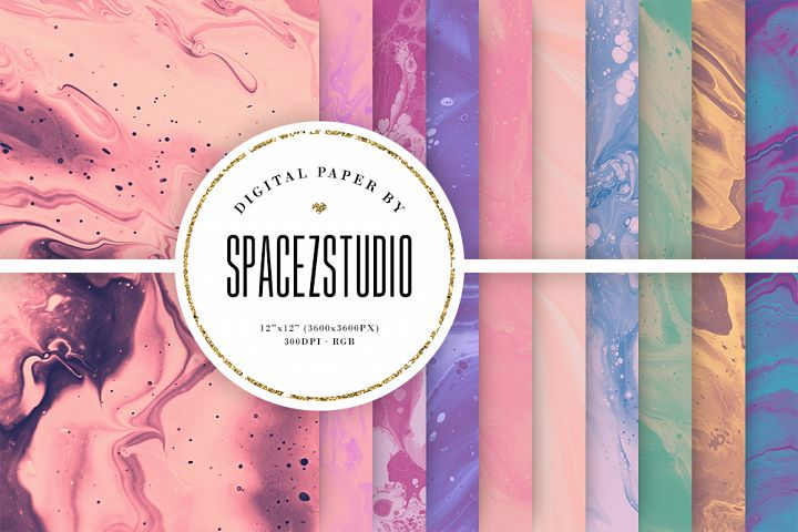 Muted Pastel Ink Backgrounds - Mix Color Digital Paper Pack