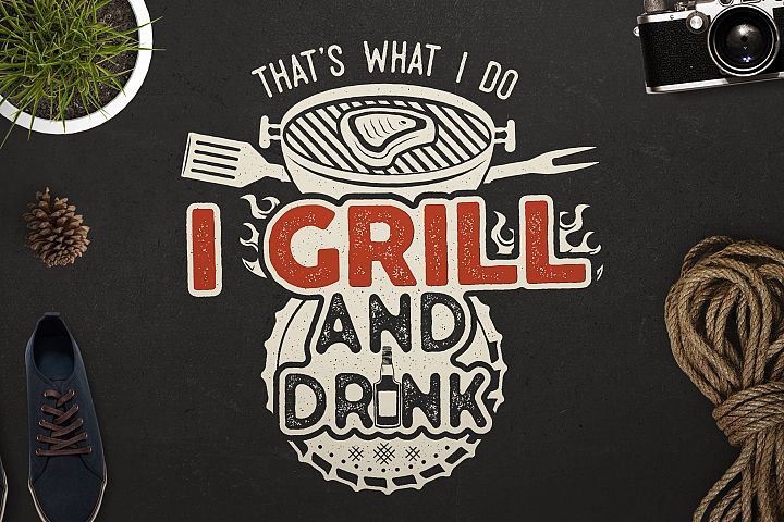 BBQ Print Design for T-Shirt. Retro Barbecue SVG Cut File
