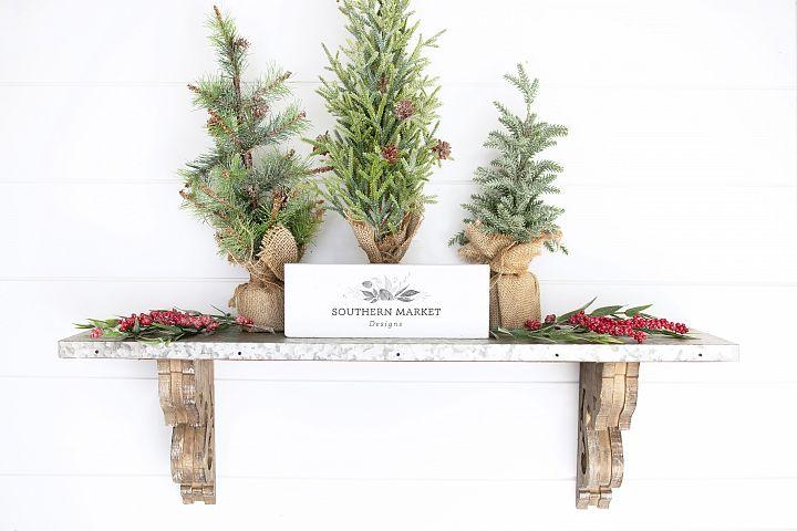 Christmas 4x8 Wood Framed Wood Sign Mock Up Photography