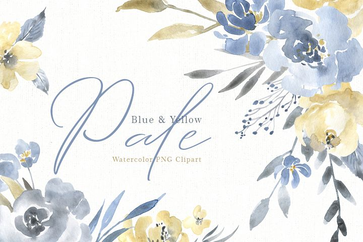 Watercolor Pale Dusty Blue Yellow Grey Flowers PNG