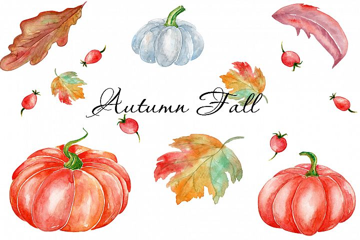 Pumpkin Watercolor Set. Watercolor Autumn Fall design