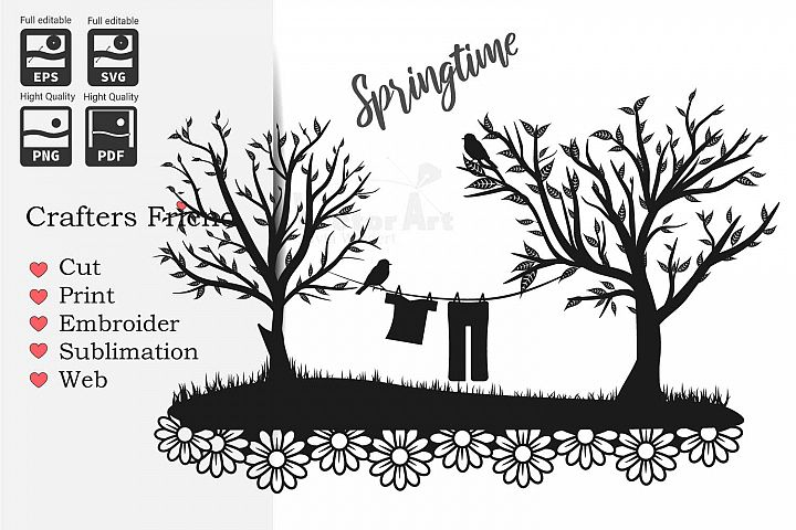 Trees and Clothes line - Cut File for Crafter
