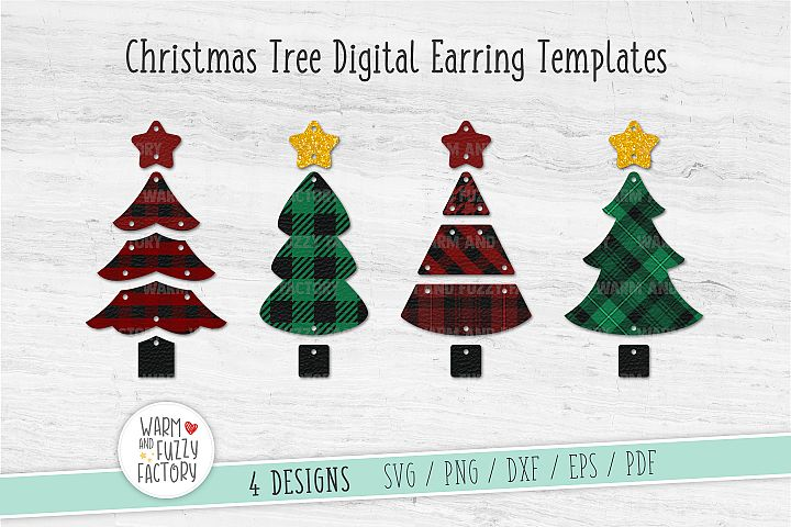Christmas tree earring svg | Earring Templates | Cut File