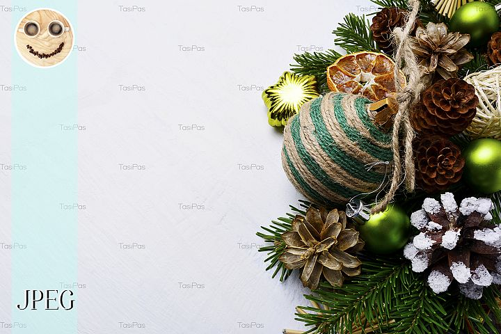 Christmas background with handmade striped twine decorated