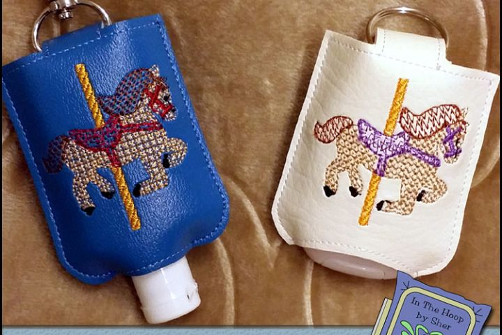 ITH Carousel Horse Hand Sanitizer Holder- Snap Tab (5x7 Hoop) - Machine Embroidery