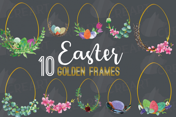 Easter golden watercolor floral frames, floral frames