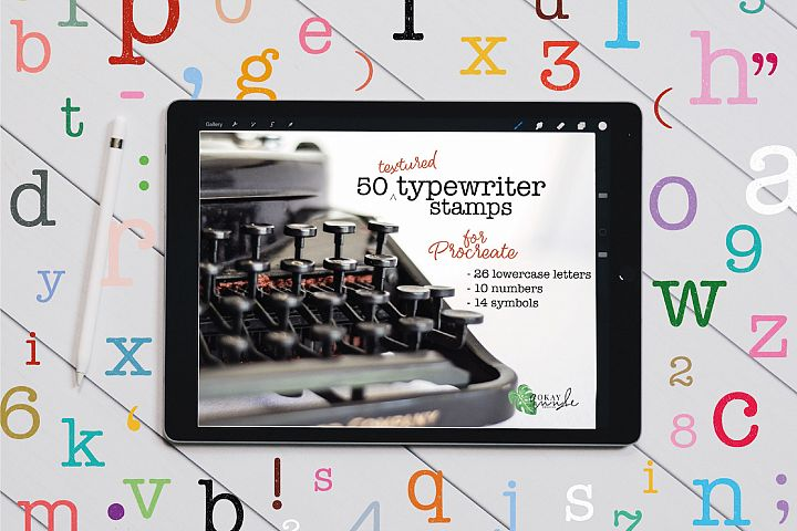 Textured Typewriter Stamp Brushes for Procreate
