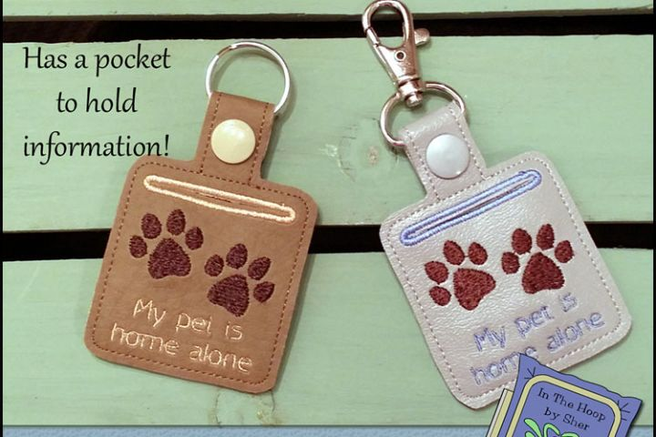 ITH Pet Home Alone Paw Print Key Fob with Pocket - Snap Tab Machine Embroidery