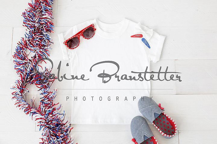 Styled Stock Photography Girls 4th Of July T-shirt Mockup