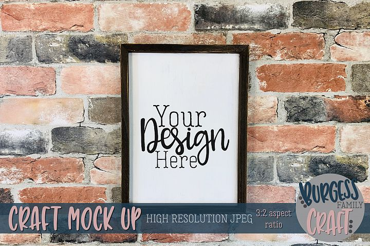 Vertical Wood sign on brick Craft mock up |High Res JPEG