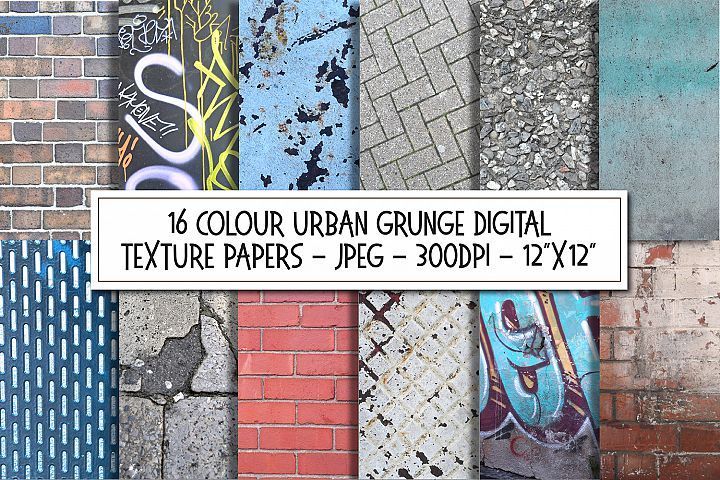 16 Grunge Urban Textures Digital Papers Pack