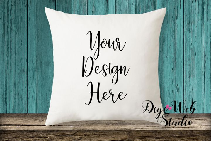 Pillow Mockup - Pillow on Wood Bench w/ Teal Wood