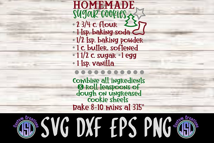 Homemade Sugar Cookies Recipe| SVG DXF EPS PNG Cut File