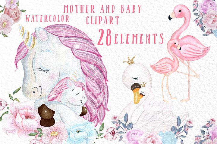 Unicorn clipart Mother and Baby watercolor flamingo