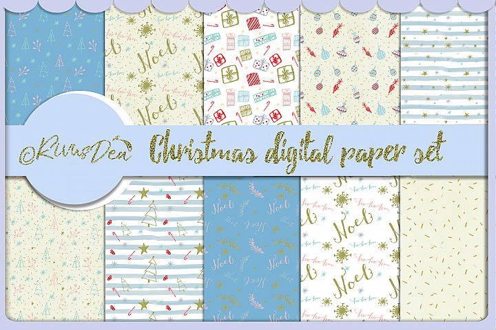 10 Christmas Paper Digital Scrapbook set Seamless digital pa