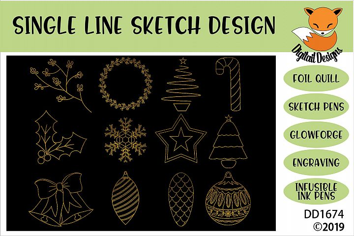 Foil Quill Christmas Illustration Doodle Bundle