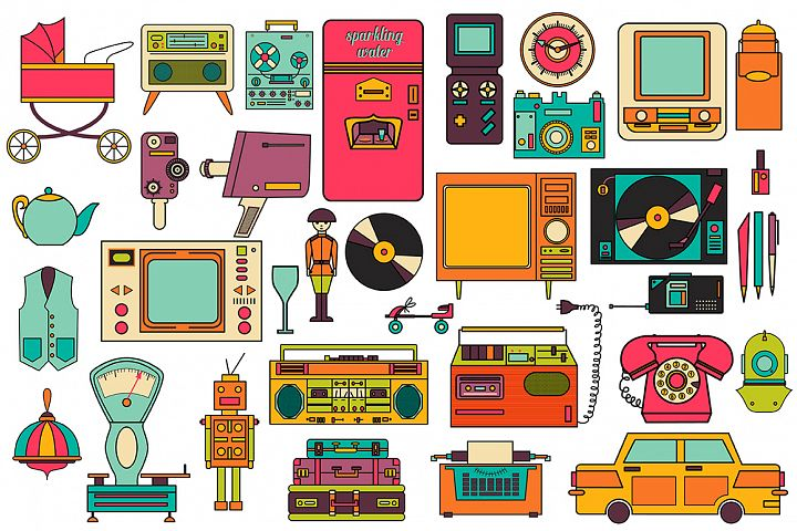 32 retro icons 80-90s collection. - Free Design of The Week Design 1