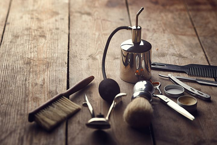 Barber shop wooden backgrounds JPG set example 1
