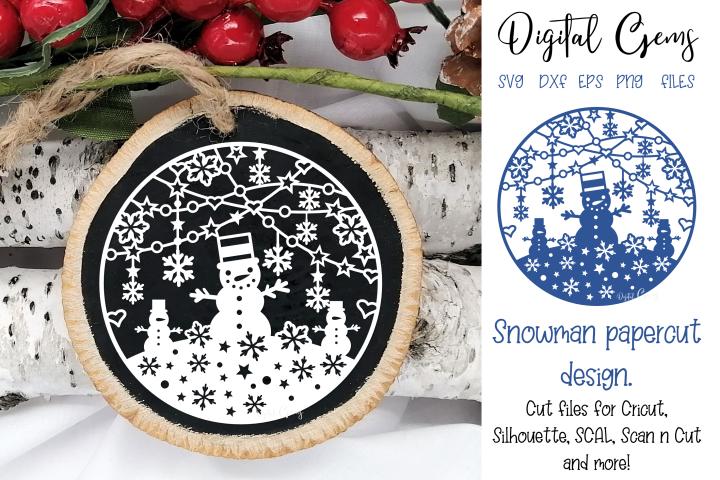 Snowman bauble / ornament papercut design. SVG / DXF / PNG
