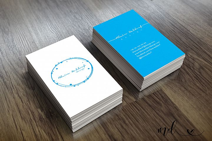 White-blue business card template