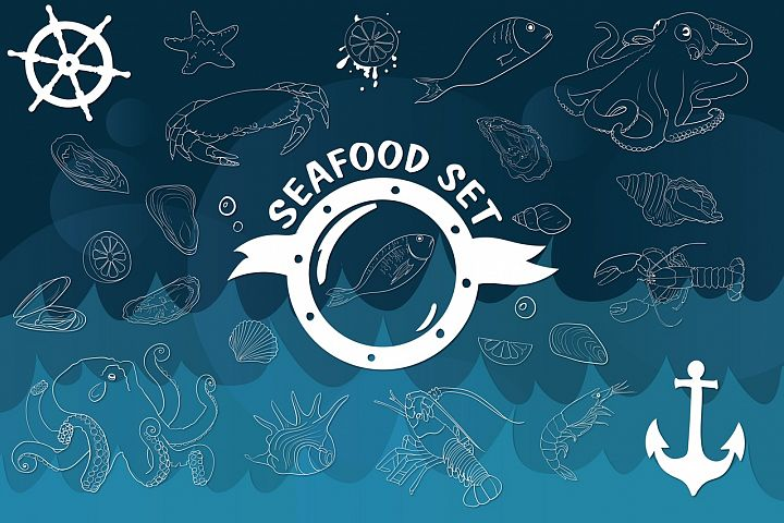 set of seafood drawn with a line