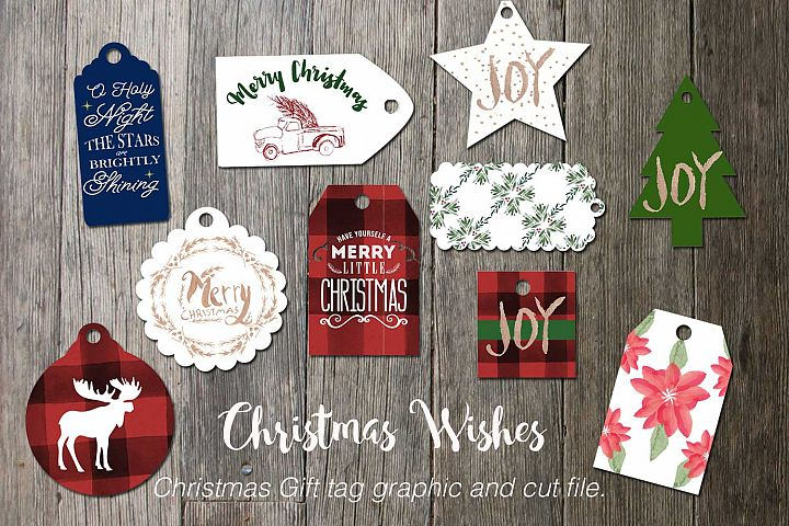 Christmas wishes Gift Tag Graphics and Cut file.