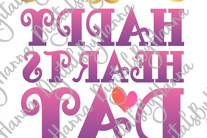 Happy Hearts Day Valentine's Sign Print & Cut File PNG SVG example image 3