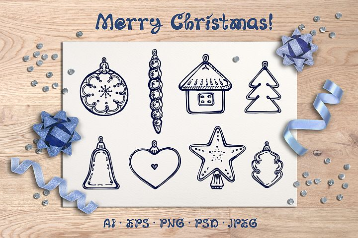8 hand drawn Christmas decorations