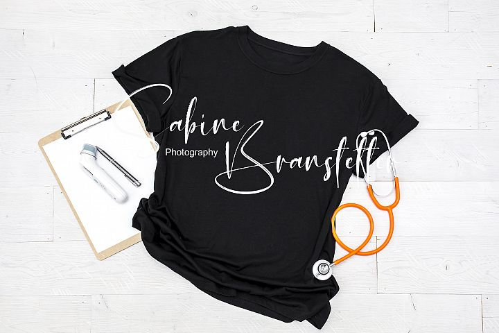 Styled Stock Photo Black Unisex T-shirt, Nurse/Doctor Mockup