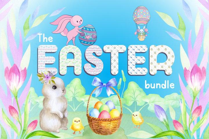 Easter bundle. Clip arts and seamless patterns