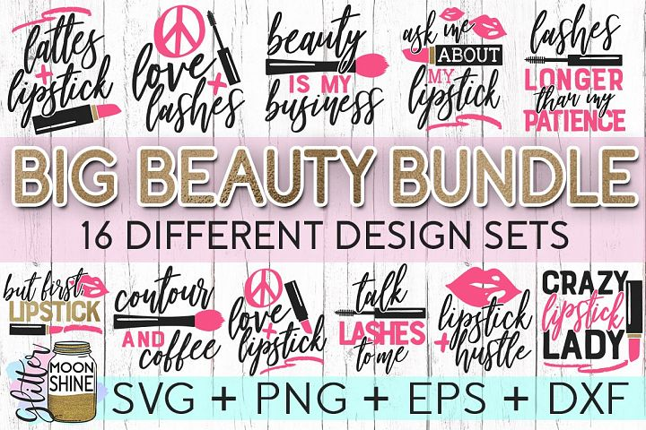 Big Beauty Bundle Of 16 SVG DXF PNG EPS Cutting Files