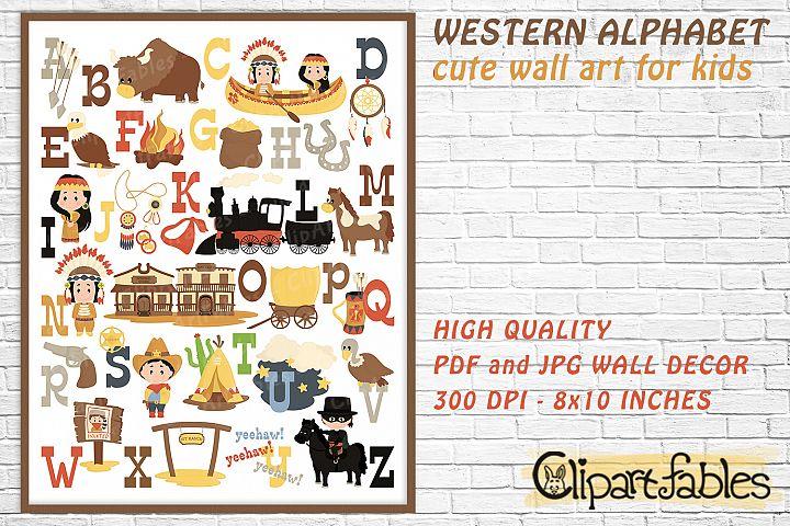 Cute english WESTERN alphabet, Cowboy ABC - WALL decor, art