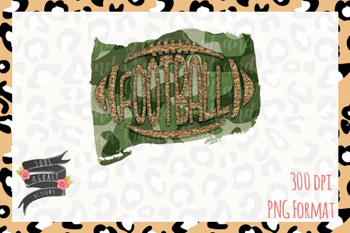 Camo Gold Football- INSTANT DOWNLOAD - PNG Printable