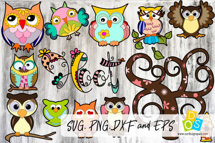 Owl SVG, PNG, DXF and EPS Bundle