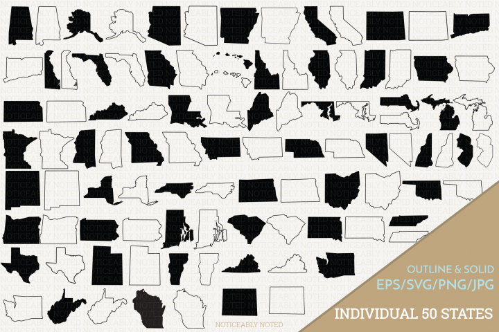 All 50 United States Vectors / Clip Art Files