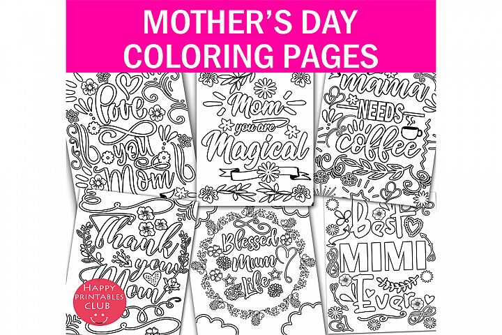 Mothers Day Coloring Pages Set-Cute Coloring Pages Mother