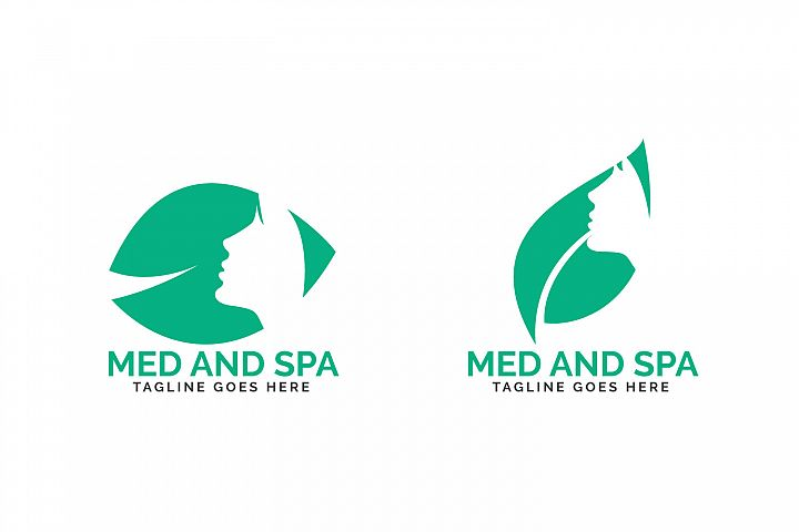 Med and Spa logo design. Beautiful woman face and leaf logo.