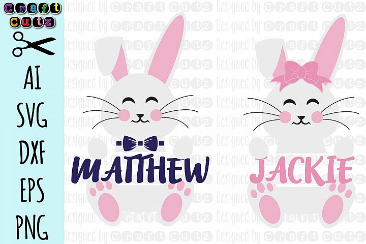 Name Frame Easter Bunny svg, Cute Easter svg, Bunny Monogram