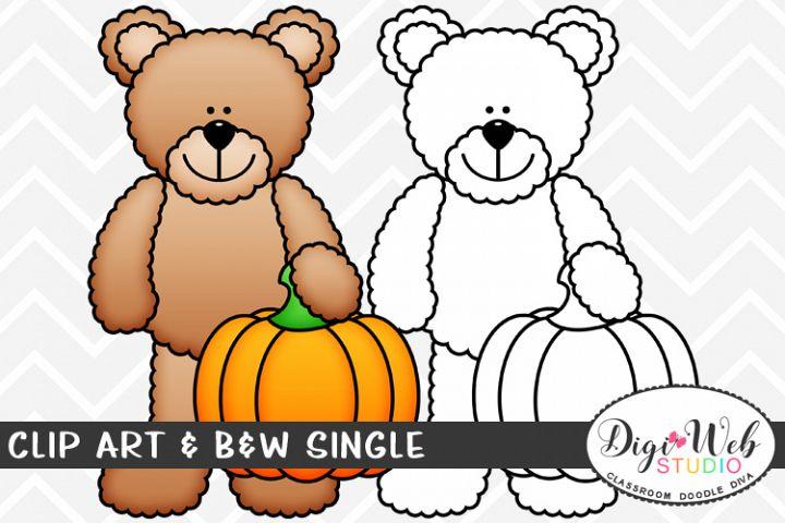 Clip Art & B&W Single - Teddy Bear Holding A Pumpkin