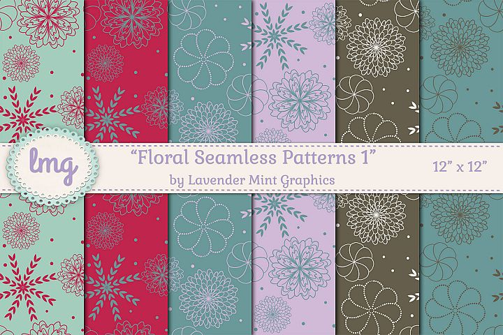 Floral Seamless Patterns in Teal, Purple, and Brown