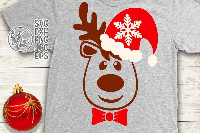 Christmas reindeer face in Santa hat svg file for cut print
