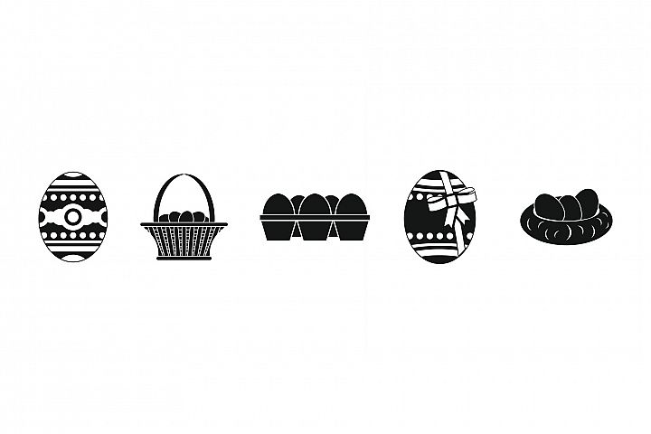 Eggs icon set, simple style