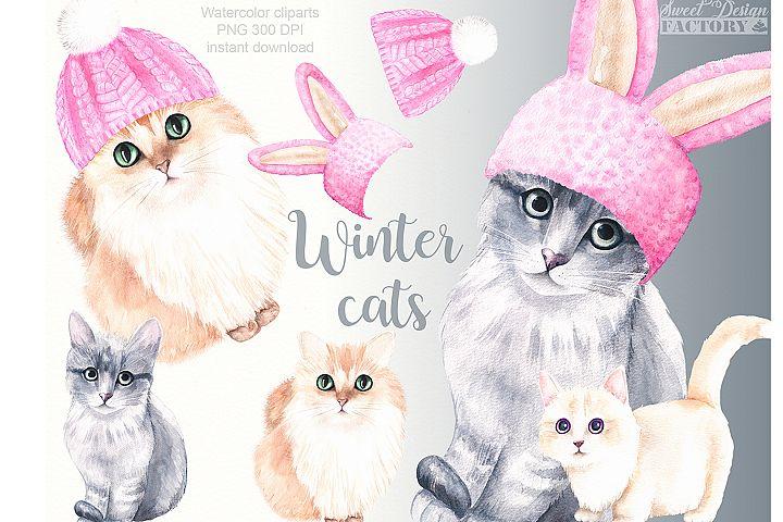 Winter cats clipart
