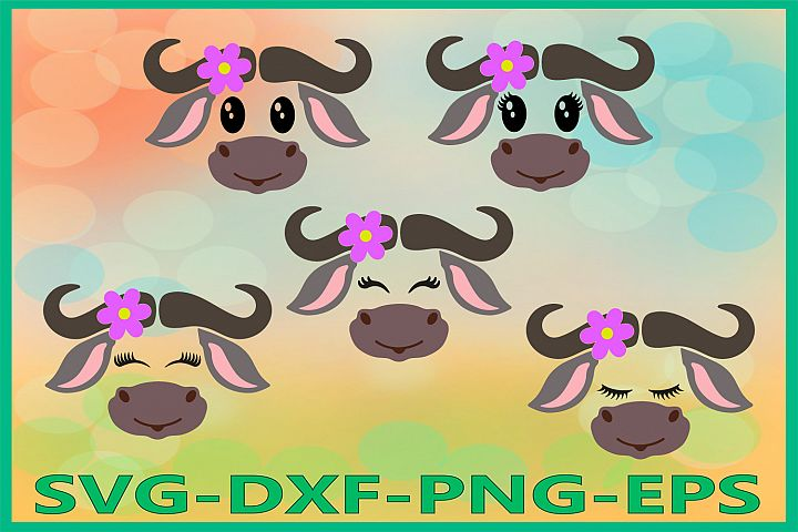 Buffalo Face SVG, Safari Animal svg, Buffalo with Flower Svg