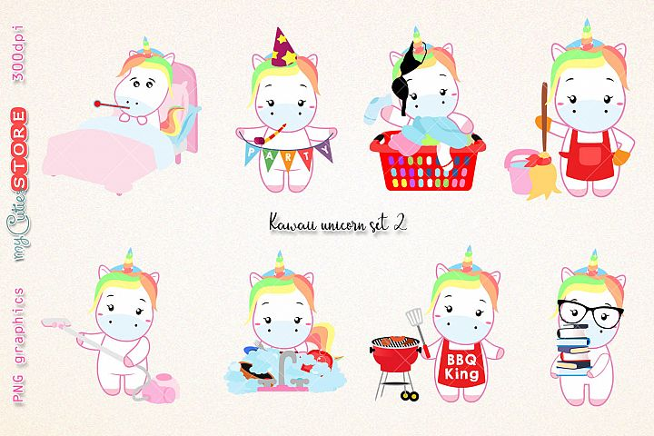 Collection of unicorns clipart, PNG graphics wash dishes, laundry day, BBQ clip art great for planner stickers or scrapbooking, invitations, cards.