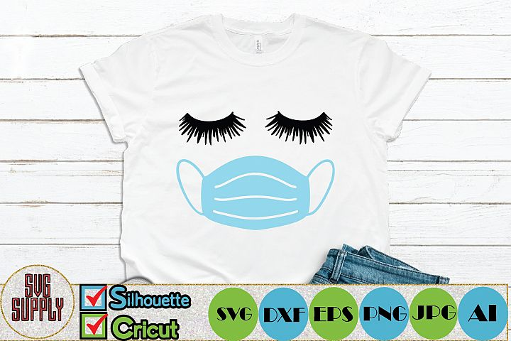 Fashion Face in Face Mask SVG Cut File